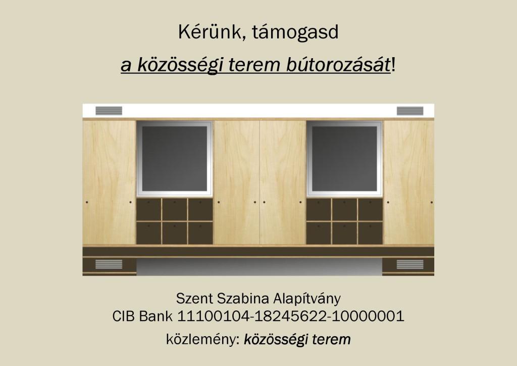Adományok a közösségi terem bútorzatára_Plakát